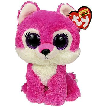 "Pyoopeo Ty Beanie Boos 6"" 15cm Sierra the Red Wolf Plush Regular Soft Big-eyed Stuffed Animal Collection Doll Toy with Heart Tag"