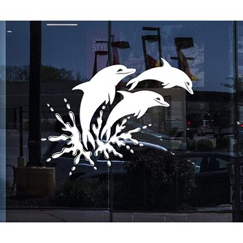Window Graphics and Vinyl Wall Decal Dolphins Marine Animals Ocean Bathroom Stickers Unique Gift (ig4065w)