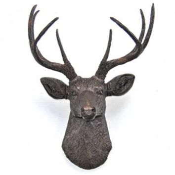 Dark Brown Faux Deer Head with Copper Reflective Flakes - Deer Head Antlers Fake Taxidermy Wall Mount - Shimmer - Glitter D2727