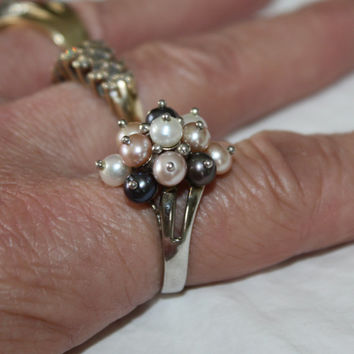 Sterling Ring Cultured Pearl Cocktail Vintage 1960s Engagement Jewelry