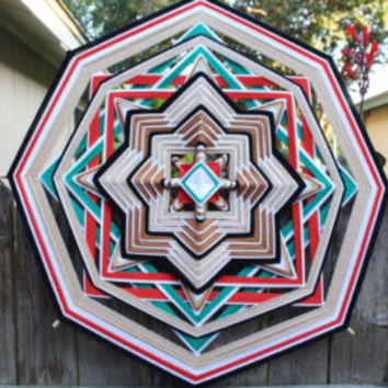12 Inch 8 Point Mexican Ojo de Dios Huichol- Arcoiris