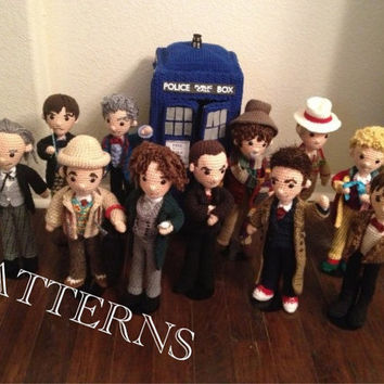 PATTERNS Set of 12 Doctors Who Time Travel Crochet Amigurumi Doctor plus Police Box