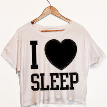 Casual I LOVE SLEEP Printed Crop T-Shirt