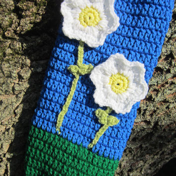 Crochet Plastic Bag Holder Blue and Green with Flowers