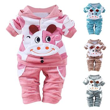 Newborn Baby Girls Boys Cartoon Cow Warm Outfits Clothes Velvet Hooded Tops Set