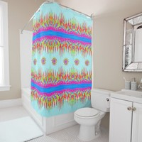 Rainbow Colors Magic Mountains And Six Stars Shower Curtain