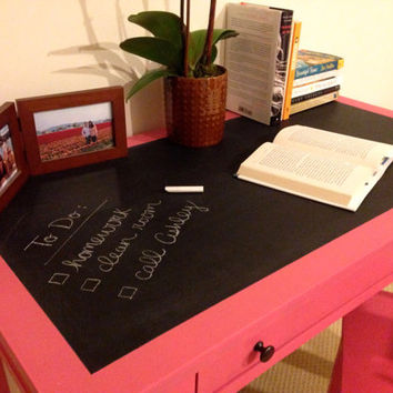 Pink Desk with Chalkboard Surface & Matching Chair