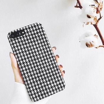 Soft Fuzzy Phone Case For iPhone 7 6 6s 8 Plus X Cloth Grid Checker