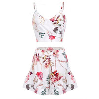 Stylish Lady Women Sexy V-Neck Strap Crop Tops and Floral Short Skorts Slim Lace 2 Pieces Overalls Casual Party Shorts Sets D_L = 1712878340