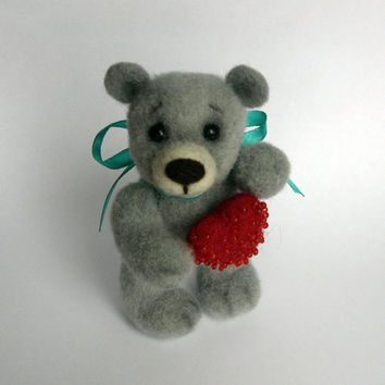 Felt Teddy Bear with Big Red Heart, Felted Bear, Gray Teddy, Toy Animal, Turquoise Grey White Toy, Woolen Toy, Felted Brooch, Red Brooch