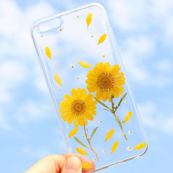 Yellow Chrysanthemum Case 100% Handmade Dried Flowers Cover for iPhone 7 7Plus & iPhone 6 6s Plus + Gift Box B61