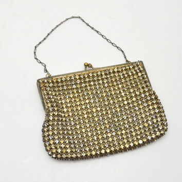 Antique Rhinestone Bag or Purse, Prong Set Rhinestones with Chain Link Strap, 1920s-1930s