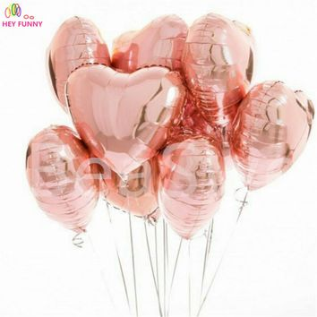 10pcs 18inch rose gold Star Heart Aluminium Foil Balloon Birthday Party Wedding Valentine's Day Decor Air Globos Party Supplies