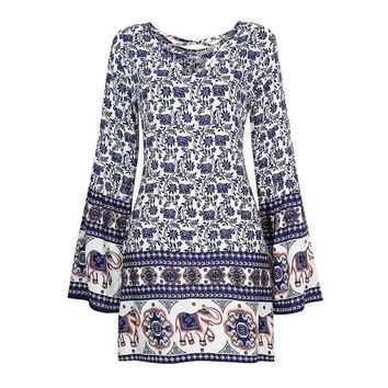 2017 Casual Women Dresses Elephant+Blue and White China Print Summer Female Lady Dresses Party Beach Dress