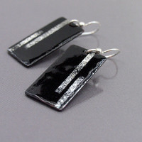 Black silver earrings - enamel earrings - fine and sterling silver copper - artisan jewelry by Alery