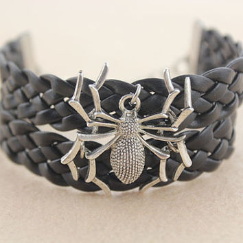 bracelet--spider bracelet,antique silver charm bracelet,black braid leather bracelet,women gift