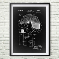 Slinky 1947 Patent Art Illustration, White, black, gray, blue Printable INSTANT DOWNLOAD - Get 5 Colors Background *8*