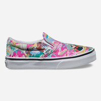 Vans Disney Alice Classic Girls Slip-On Shoes Pink  In Sizes