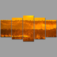 Beautiful 5pcs/set Landscape Decoration Gold Mountains in the mist Canvas printed Painting wall Art Hanging home decor unframed