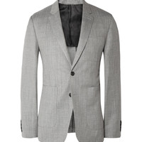 Burberry London - Grey Stirling Slim-Fit Herringbone Wool, Silk and Linen-Blend Blazer | MR PORTER