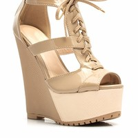 It Takes Two-Tone Lace-Up Wedges