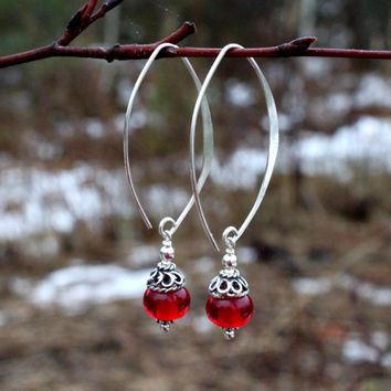 Dangling Deep Red Glass & Sterling Silver Earrings, Lampwork, Jewelry, Glass,