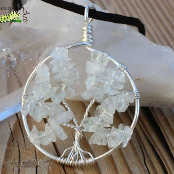 Quartz Tree of Life Necklace - Tree of Life Jewelry - Silver Plated Copper - Made to Order