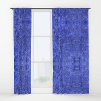 Royal blue swirls doodles Window Curtains by Savousepate