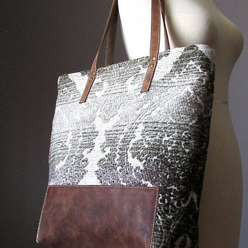 Bohemian Leather Shoulder Tote Bag, Fabric Leather bag, Shopping bag, Modern Hippie bag, carry all bag, Handmade by VitalTemptation