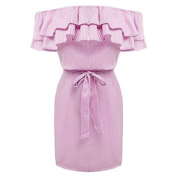 Pink Off-Shoulder Flounced Striped Dress