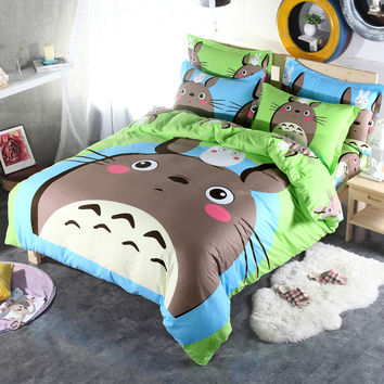 Neighbor Totoro and a Variety Cartoon 3D Bedding Sets Child Like 3/ 4Pcs	duvet  cover  Twin Full Queen king Size
