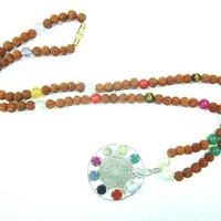 Navaratan Rudraksha Prayer Beads for Meditation, Prayer Mala, Holy Necklace