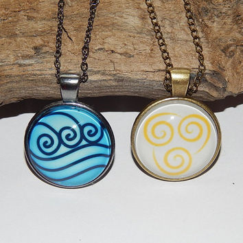 Avatar pendant necklace jewelry glass cabochon, Avatar the Last Airbender, Water air tribe emblem simbol, Fire nation emblem Symbol Pendant