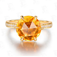 Round Citrine Engagement Ring Pave Diamond Wedding 18k Yellow Gold Claw Prong