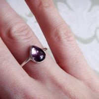 Pear Shaped Purple Tourmaline and Sterling Silver Ring - Pear-Shape Ring - Tourmaline Ring - Purple Stone Ring - Ring Size 7 - Ready to Ship