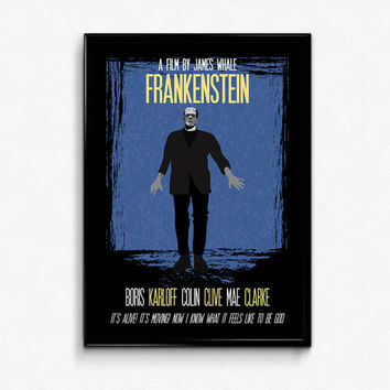 Frankenstein Poster Print Movie Quote - It's Alive! It's Moving! Now I Know What It Feels Like To Be God - Art Print, Sizes - 8x10 to 24x36