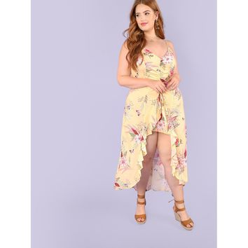 Plus Floral Print Pinched High Low Maxi Dress