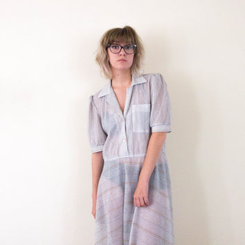 vtg 80's white sheer dress, 1980s 1990s button down long skirt, 90s vintage tumblr, art hoe fashion,  aesthetic