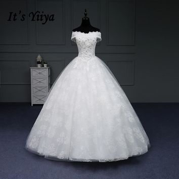 It's YiiYa Sales Wedding Dresses Boat Neck Court Train Appliques Lace Bling Sequined Lace Up Frock Crystal Sweetheart IY178