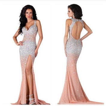 Satin Long Evening Dress Rhinestone Prom Dresses Fashion New Sweetheart Mermaid Floor Length X655