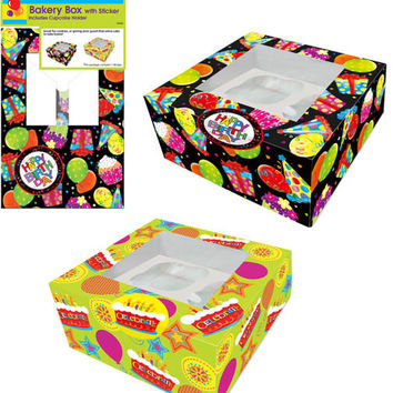 birthday cupcake box with sticker - 2 designs per case Case of 72
