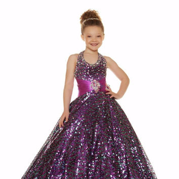 2016 Purple Sequins Beaded Girls Pageant Gowns Halter A-Line Shiny Sequins Cheap pageant gowns kids