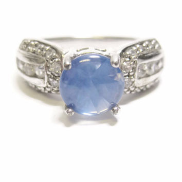 Light Blue Sapphire Ring and White Zircon Ring Sterling Sz 8