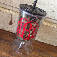 MONOGRAMMED LEOPARD 18OZ. ICED TEA CUP