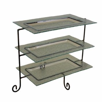 Artistic 3 Tier Glass Tray Metal Stand,Black By Benzara