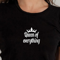"""Black """"Queen of Everything"""" Letter Print T-Shirt"""