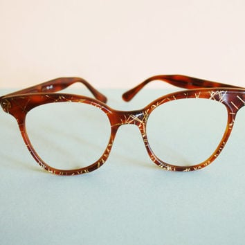 Vintage ZAGATO Italian Luxury Sunglasses Cat Eye cateye frames, 70s Brown Gold Glittered