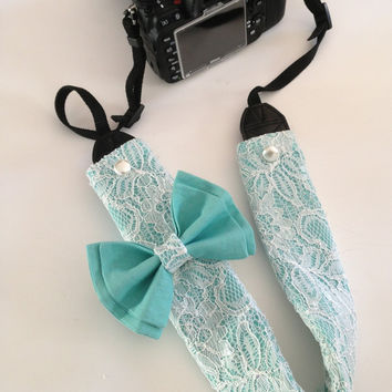 All Over Lace DSLR Camera Strap Cover Slipcover in White Lace and Tiffany Blue Double Bow Canon and Nikon Compatible