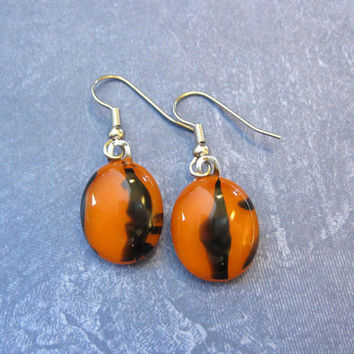 Orange Earrings, Dangle, Hypoallergenic, Fused Glass Jewelry, Etsy Jewelry - Fall Freight - 2130 -3