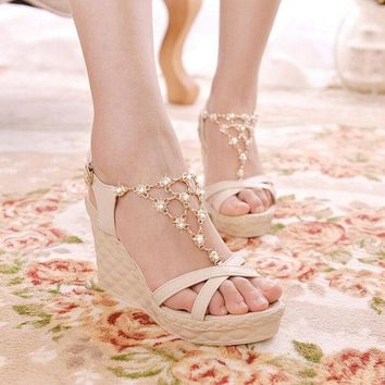 PEAPIX3 Hot crystal chain beads women wedge sandals with platform high heel sandals for lady = 1946814852